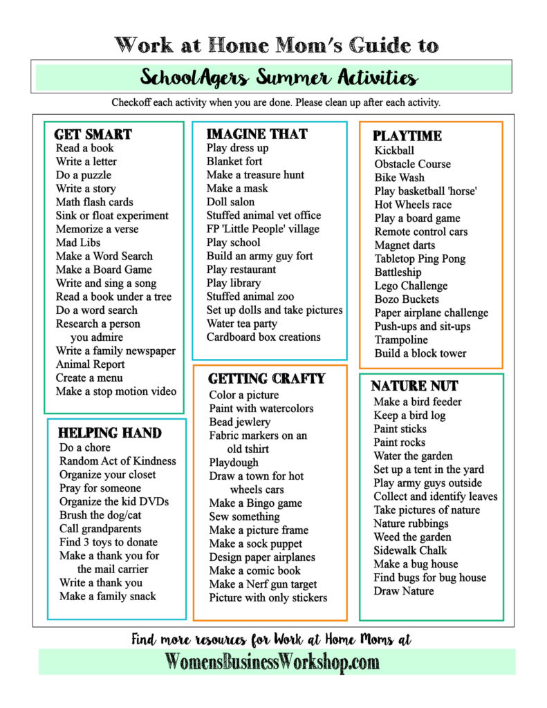 Work at Home Mom's guide to surviving summer! A huge list to give kids so they can have fun while mom works. More at womensbusinessworkshop.com.